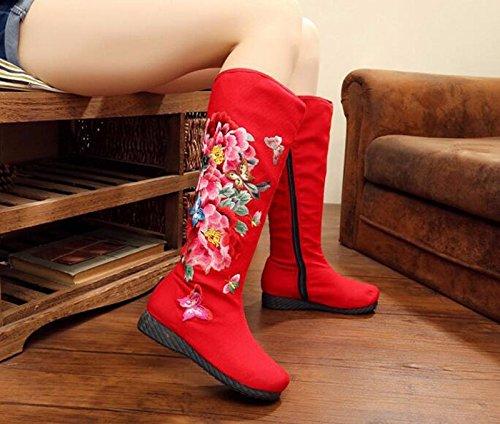 KHSKX-La Nazionale Di Panno Rosso Stivali Con Basse Colline E Testa Rotonda Ricamato Scarpe Casual High-China Vento Stivali Femmina 40 40