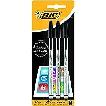 BiC Cristal Stylus - Pack de 3 bolígrafos 2 en 1 con tinta negra, para pantallas táctiles