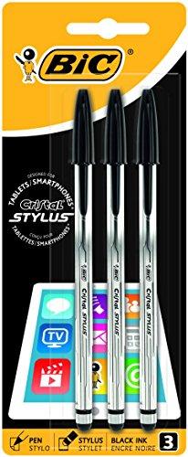 BiC Cristal Stylus – Pack de 3 bolígrafos 2 en 1 con tinta negra, para pantallas táctiles
