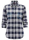 Dioufond Camisas Mujer Cuadros Manga Larga Camisetas Mujer con Bolsillo Bordado Falso(Negro 4XL)