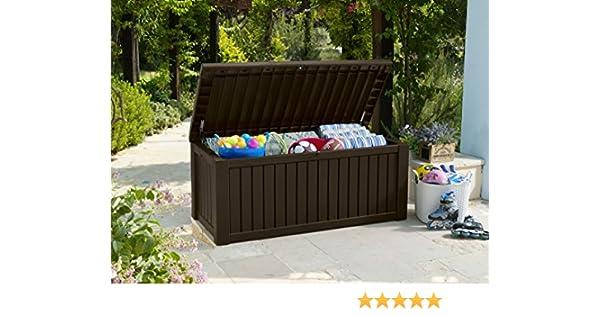 Koll Living Auflagenbox//Kissenbox 570 Liter l 100/% Wasserdicht l mit Bel/üftung dadurch kein /übler Geruch//Schimmel l Moderne Holzoptik l Deckel belastbar bis 250 KG GRAU 2 Personen