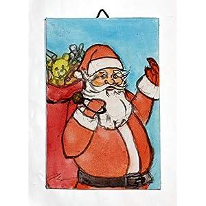 Weihnachtsmann-Gemälde Leinwand auf Karton, Aquarell,handgemacht,Maße cm10x15x0,2 cm.MADE in ITALIEN Toskana Lucca…