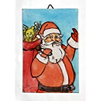 Santa Claus-Canvas Panels of size inch 3,9x5,9x0,1 inch, technique watercolor-MADE in ITALY Tuscany Lucca,certified