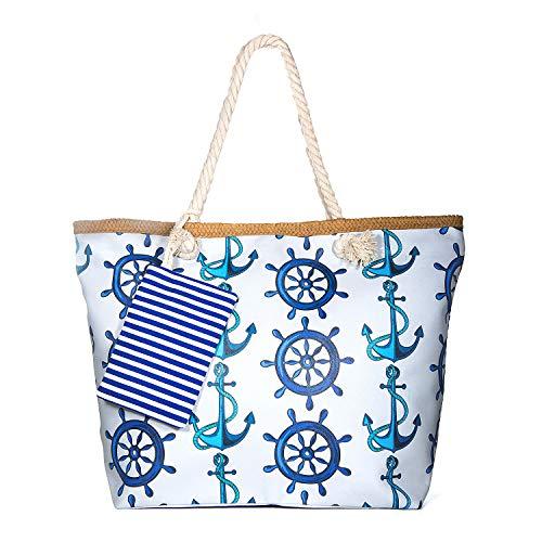 ZOEON Große Wasserdicht Strandtasche mit Reissverschluss, Damen Shopping Shopper Tasche Reisetasche Canvas Schultertasche für Reise, Kaufen, Ausflug usw. (Anker49)