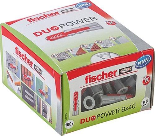 fischer DUOPOWER 8 x 40 LD - Universaldübel für eine Vielzahl von Baustoffen - Allzweckdübel für leichte Wandregale, Gardinenschiene, Elektroinstallationen uvm. - 100...