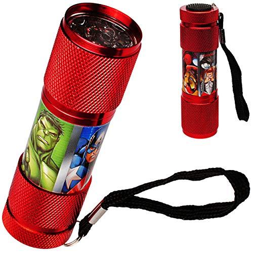alles-meine.de GmbH Taschenlampe LED - Avengers - aus Metall - Mini Lampe / Schlüsselanhänger - 9 Fach LEDlicht - Licht Auto Kindertaschenlampe für Jungen - Metalltaschenlampe - .. 9 Led-taschenlampen