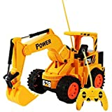 Calcifer Kids Boys Simulation 5CH Electric Wireless Infrared RC Remote Control Excavator Tractors with Lights Educational Toys Gift