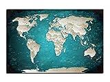 Alu-Dibond Wandbild TÜRKIS WELTKARTE Globus AB-833 Butlerfinish® 120 x 80 cm, Wandbild Edel gebürstete Aluminium-Verbundplatte, Metall effekt Eyecatcher!