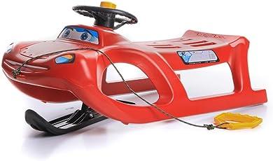 Schlitten Kinderschlitten Rodel aus Kunststoff mit Zugseil und Lenkung Zigi-Zet Control 2 Farben