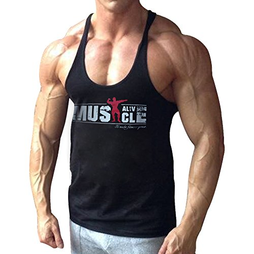 Alivebody Herren Bodybuilding Tank Top Strap Fitness Stringer Achselshirts Schwarz L