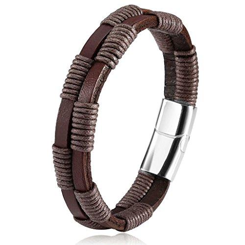 Bishiling Schmuck Edelstahl Leder Armband Herren Lederband mit Magnetverschluss Herrennarmband Armbänder (Für Uhrwerk Orange Herren Kostüm)