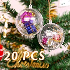Idea Regalo - Trasparenti Palline di Natale 20PZ, Zogin® Palline Sfere Apribili da Riempire Decorazione Natale per Albero Natale Addobbi(Diametro 8 CM)