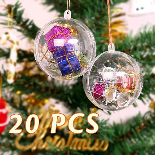 Christbaumkugeln Bemalen.Zogin 20pcs 8cm Christmas Ball Clear Transparent Balls Ornaments Diy Fillable Craft Plastic Xmas Ball Baubles