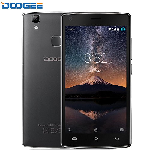 [Official Store] DOOGEE X5 Max Pro Smartphone, Android 6.0 4G SIM-Free Unlocked Cell Phones - 5 Inch HD IPS Display - 2GB RAM+16GB ROM - 5.0MP+8.0MP Camera - 4000mAh Fingerprint Mobile Phone - Black