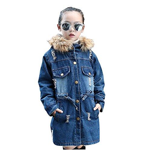 SODIAL(R) Nuovo inverno ragazze del denim dei capretti bambini rivestimento piu' giacca di velluto di spessore cappotto lungo caldo per l'inverno freddo 4T = 110CM