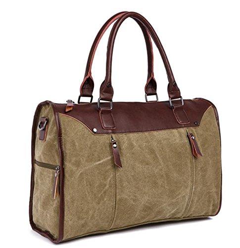 &ZHOU Borsa di tela, Spessa tela borsa moda casual grande capacità portatile spalla diagonale viaggio Borse unisex , coffee color Khaki