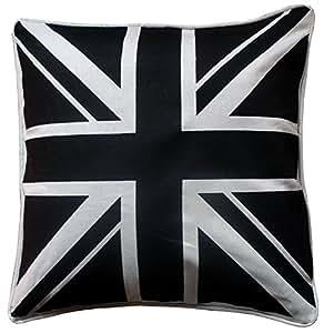 Housse de coussin Motif drapeau du Royaume-Uni Noir et blanc 45,7x 45,7cm