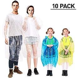 Movtotop Poncho De Lluvia Impermeable Con Capucha Desechable Para Mujer Hombre Y Niños 10 Unidades