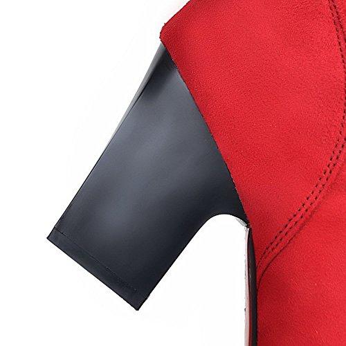 Haut Unie VogueZone009 Tire Talon Suédé Pointu à Femme Bottes Rouge Couleur qqrExYU