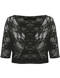 Womens Plus Size Floral Lace 3/4 Sleeve Crop Cardigan Bolero Shrug