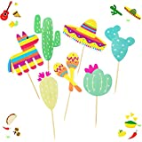 LuLyL 70 Stück dekorative Cupcake-Topper mexikanisches Muster Kuchen Toppers Maraca Sombrero Kaktus-Party Kuchen Picks Dekor Set
