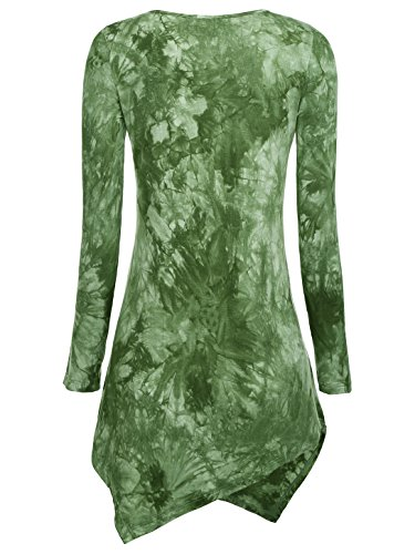 WAJAT Damen Langarm T-Shirt Asymmetrisch Hem Tunika Stretch Grün