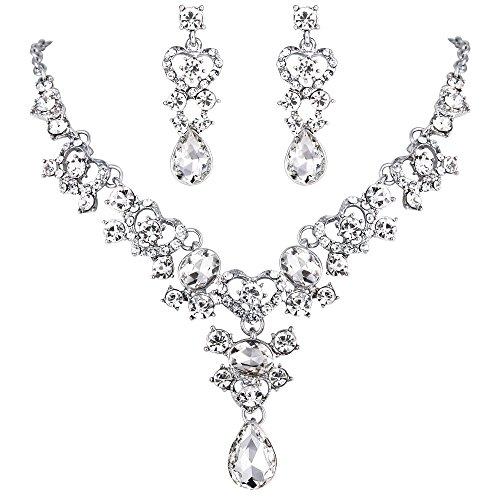 Ever Faith Women's Crystal Bridal Sweet Love Heart Teardrop Necklace Earrings Set Clear Silver-Tone