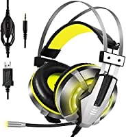 EKSA Stereo Gaming Headset for PS4, PC, Xbox One Controller, Noise Cancelling over Ear Headphones with Mic, LE
