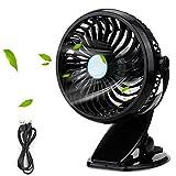 Mopalwin- Mini Clip Ventilatore a Batteria, Ventilatore da tavolo[Rotazione di 360 °][ 18650 a pile] per scrivania ,auto,casa ufficio,viaggiare (Piano Nero)