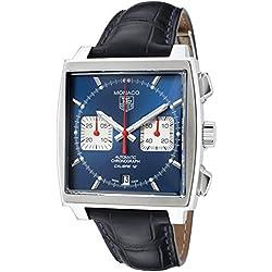 TAG Heuer Monaco - Reloj (Reloj de pulsera, Masculino, Acero, Acero inoxidable, Cuero, Azul)