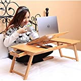 #3: Egab Bamboo Wooden Laptop Table and Study Table With Adjustable Height