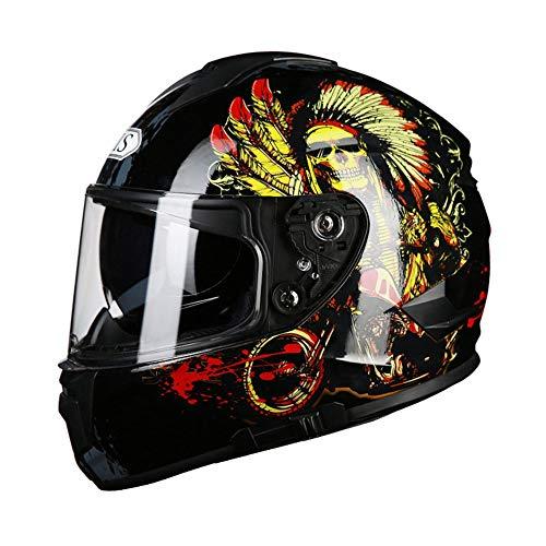 GAL Bello ABS Casco Moto Maschio Full Cover Four Seasons Locomotiva Motor Full Face Helmet Anti-Fog Doppia Lente Indian Skull Pattern (Size : L)