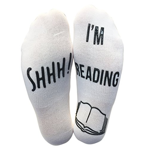 BRING ME SOCKS 'Shhh I'm Reading' Funny Ankle Socks - Great Gift For Those People Who Love Books!