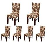 6x morbido spandex elasticizzato Fit sedie da sala da pranzo con motivo stampato, banchetto sedia sedile Slipcover per Hone party hotel cerimonia di nozze Posate da pasto E