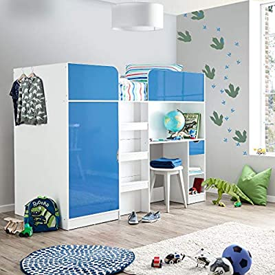 Happy Beds Paddington High Sleeper Bunk Storage Bed Wardrobe Desk 3' Single 90 x 190 cm