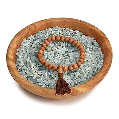 Armband Mala aus Holz mit Sandelholz-Duft mit brauner Quaste, 27 Perlen