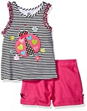 Kids Headquarters Girls' Lady Bug Printed Top with Pink Twill Shorts, Multi, 6