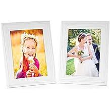 Set de 2 cadres photo 15x20 cm blanc moderne bois massif avec veinures avec vitre et accessoires / à accrocher ou à poser / cadre photo