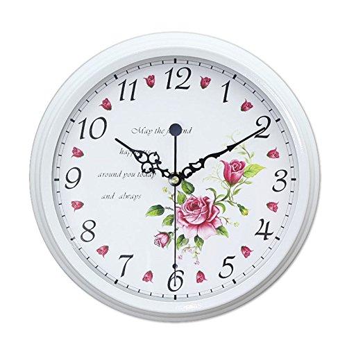 Relojes de pared- Hierro Forjado de jardín Cuadro de Pared Decorativo de Estilo Vintage Escáner silencioso (Color : B)