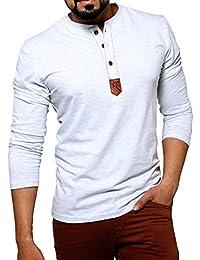 "Seven Rocks Men's Henley Neck Cotton Tshirt ""Henley Leather Patch"""