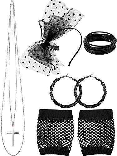 80s Kostüm Zubehör, Netz Handschuhe Lace Stirnband Ohrringe Halskette Armband für 80s Partei (Stil ()