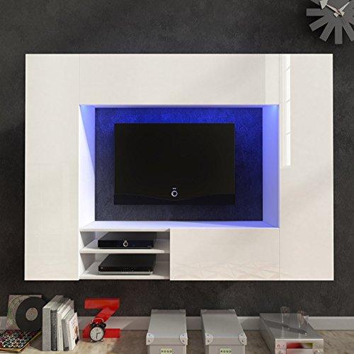 Wohnwand NET Weiß Hochglanz Anbauwand Hängewohnwand Wohnmoebel mit RGB Beleuchtung