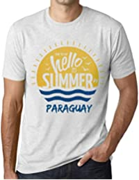 Hombre Camiseta Vintage T-Shirt Gráfico Time To Say Hello To Summer In Paraguay Blanco
