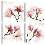 murando - Bilder Blumen 60x60 cm - Vlies Leinwandbild - 4 TLG - Kunstdruck - modern - Wandbilder XXL - Wanddekoration - Design - Wand Bild - Magnolien weiß rosa b-A-0259-b-j