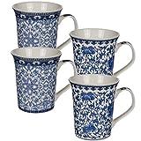 Bada Bing 4er Set Kaffeebecher Tasse Blau Creme Weiß Chinesisches Muster Edel Elegant New Bone 2fach Sortiert 61