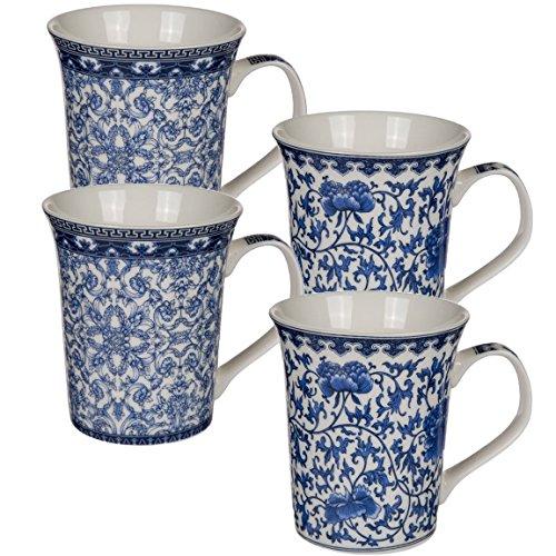 Bada Bing 4er Set Kaffeebecher Tasse Blau Creme Weiß Chinesisches Muster Edel Elegant New Bone...