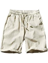 DianShaoA Tallas Grandes Pantalón Corto Chino Para Hombre Jogging Pantalones  Cortos De Lino Con Cinturón Elástico fa57c43b869e