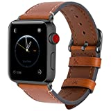 Fullmosa kompatibel Apple Watch Armband 38mm 42mm in 8 Farben,Wax Series iWatch Armband für Apple Watch Series 3 2 1,Hellbraun + Dunkelgrau Schnalle 42mm