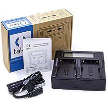 Take® tk-dclcd FW50Cargador Cargador doble con LCD para baterías Sony FW50para Sony Alpha a7, a7R, a7S, A3000, A5000, A6000, A6300, A6500, A7Mark II, Mark II, A7R A7S Mark II