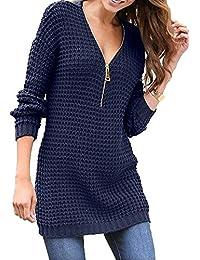 Pullover Lang Damen Sweatshirt v Ausschnitt Strickpullover Oversize Pulli Gestrickter Oberteil Lässige Shirt Kleid Langarmshirt mit Reißverschluss